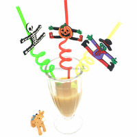 bar supplies Halloween plastic swirly drinking straws with custom figures