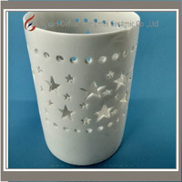 Hollow out custom desgin ceramic candle warmer lamp