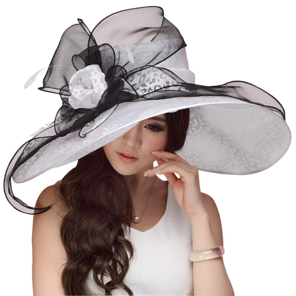 71db76faf15 Get Quotations · June s Young Women Hats Summer Big Hat Wide Brim Top  Flower White Black