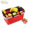 2018 newest hot folding double fabric handle carry picnic basket