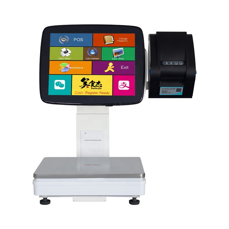 White 15KG All in One Touch Screen Cash Register Weighing <strong>Scale</strong> with Barcode Sticker Printer For Fruit Store Retail POS System
