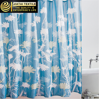 extra breed gordijnen polyester stof afdrukken bloemen blauw en wit douchegordijn