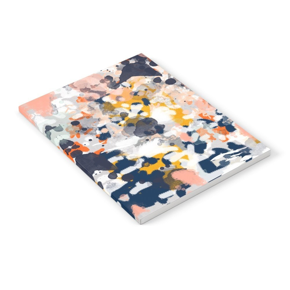"""Society6 Stella - Abstract Painting In Modern Fresh Colors Navy, Orange, Pink, Cream, White, And Gold Notebook 6"""" x 8"""" Unlined"""