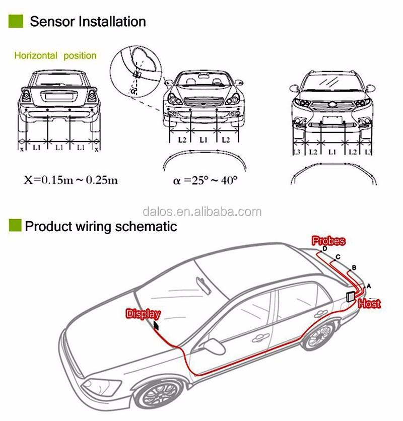 best led car reverse parking sensor system 12v 22mm popular 4 sensors diy car parking sensor