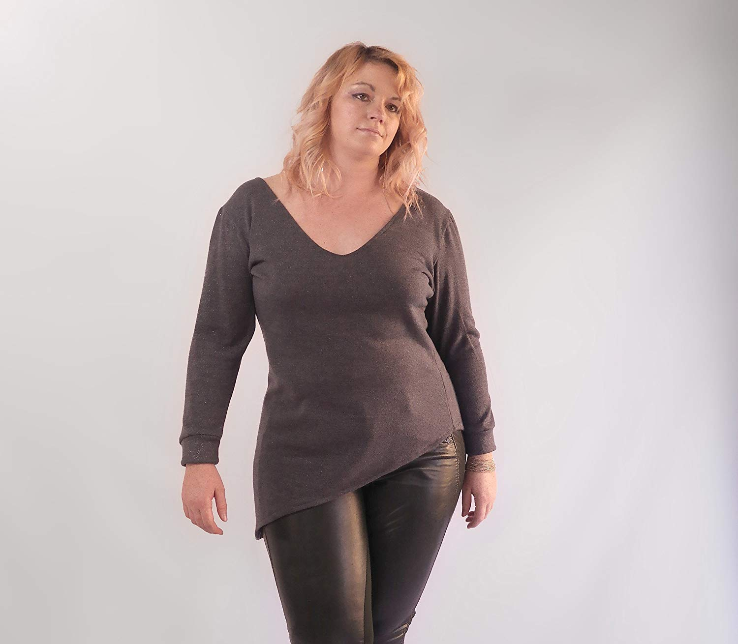 Asymmetric Dark Slate Metallic Tunic Top, Plus Size Knit Top, Dark Grey V-Neck Top, Night Out Top, Sparkly Soft Warm Sweater. Size ML-XL