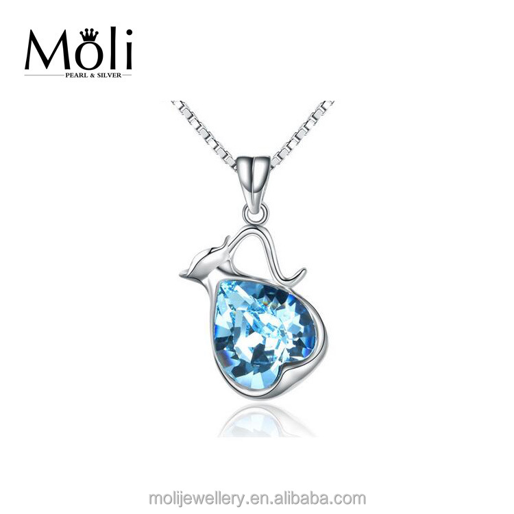 Blue High Quality Gemstone Pure 925 Sterling Silver Pendant Fine Fashion Jewelry for European & American Market