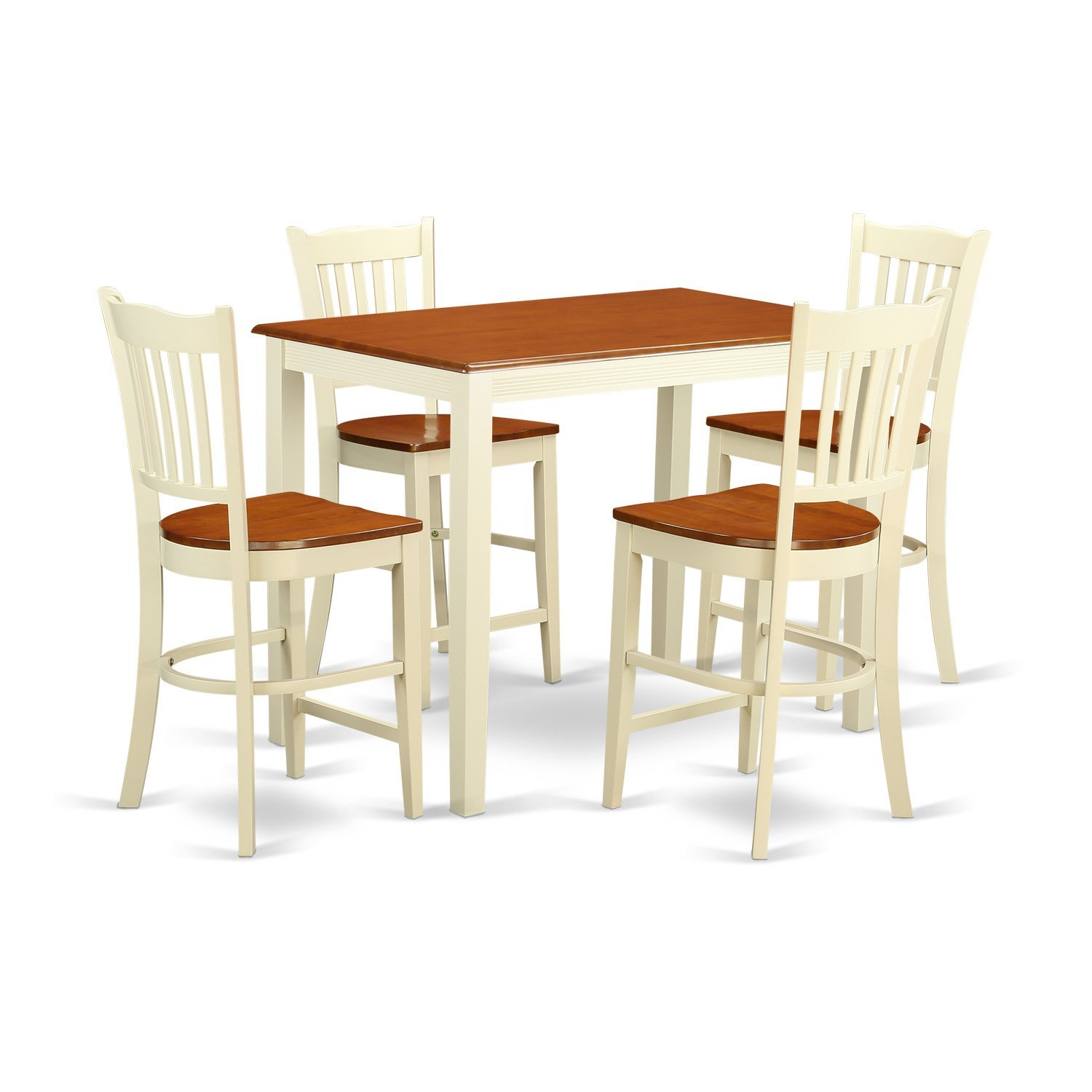 East West Furniture YAGR5-WHI-W 5 Piece Counter Height Table and 4 Kitchen Chairs Set