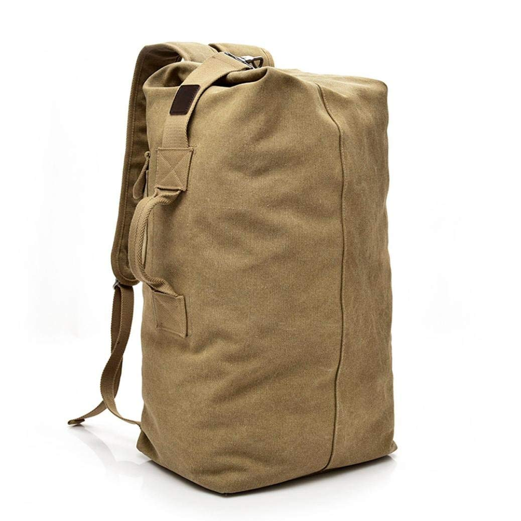 "Vintage Outdoor Travel Canvas Backpack High Capacity Satchel Hiking Bag Shoulder Bag for Women Men (L-11.81(L)7.87(W)21.65(H)"", Khaki)"