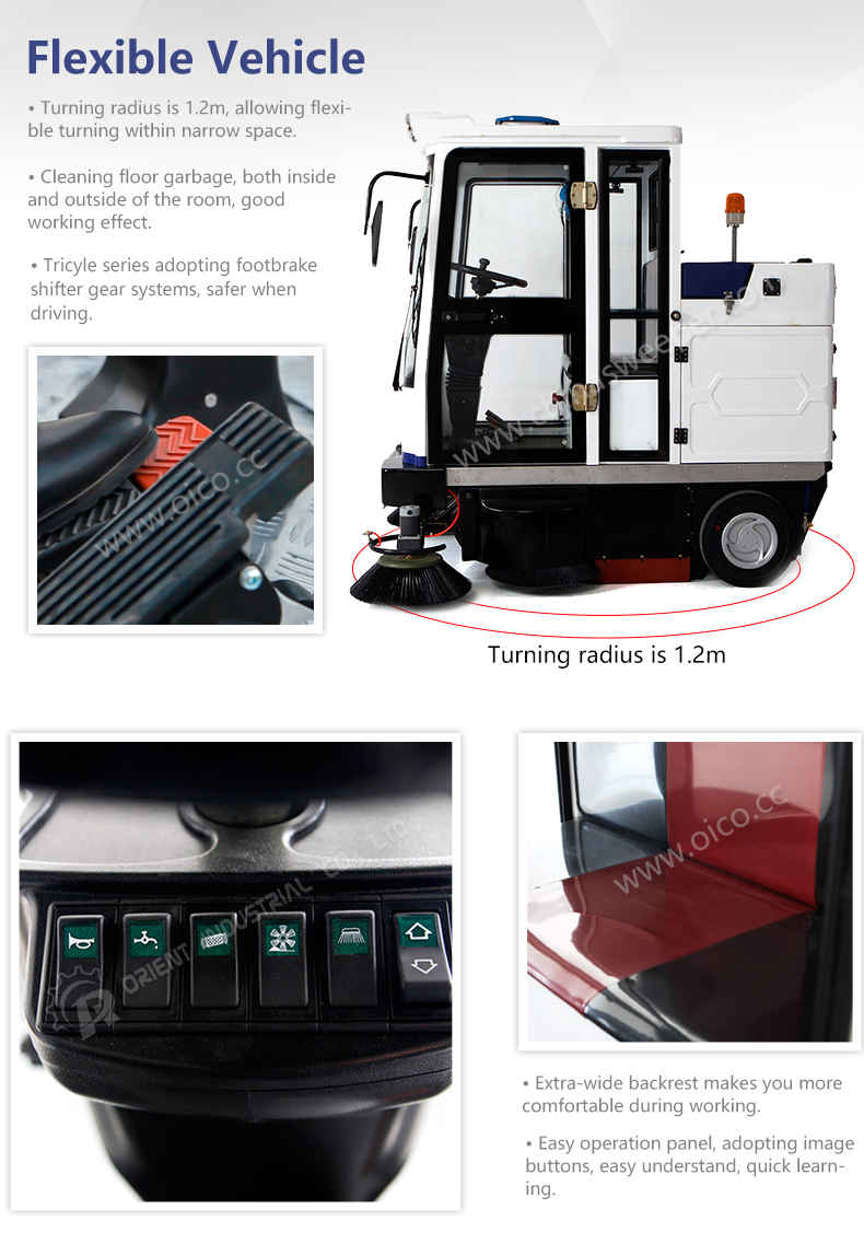 2018 Brand New E800FB Ride-On Floor Sweeper Road Sweeper Machine