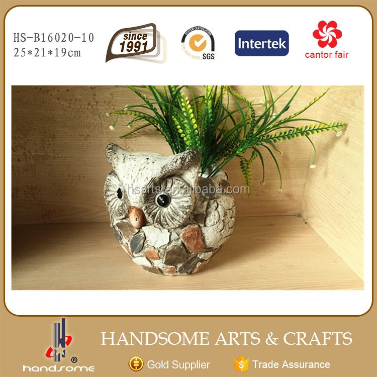 10 Inch Megnesia Home and Garden Ornament Lively Animal Figurine Owl Statue Flower and Grass Plant Pot