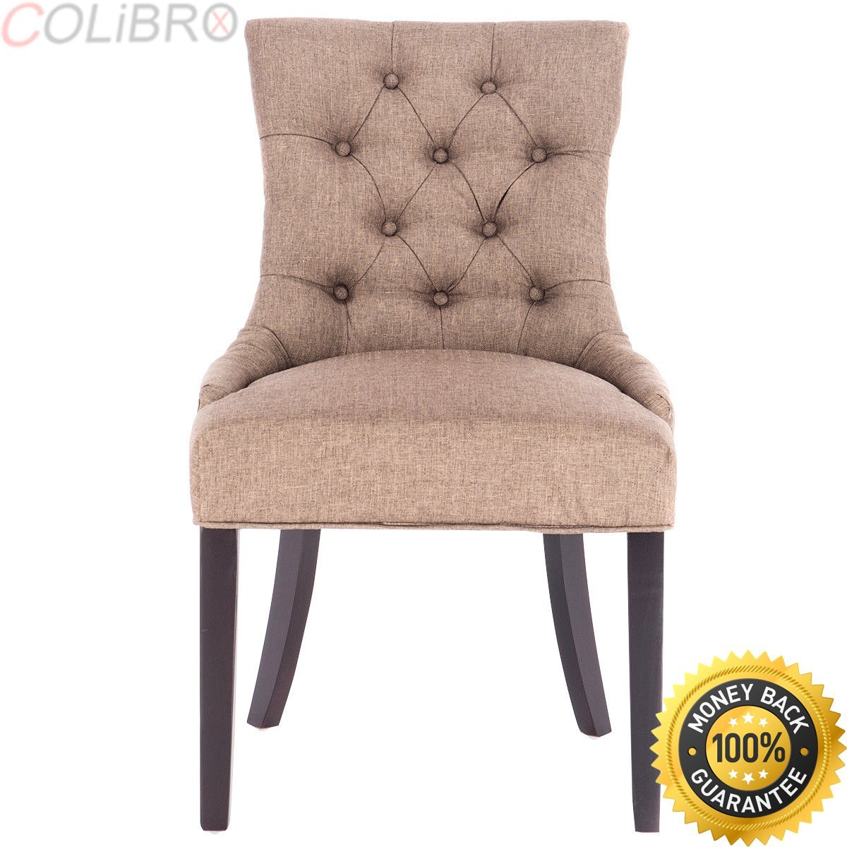 COLIBROX--Fabric Dining Chair Tufted Leisure Padded Upholestered Nailed Trim w/ Wood Legs. dining chair leisure padded chair with armrest, nailed trim. side dining chair upholstered dining chair.