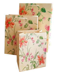 Flower paper tote gift bag foldable laminated ivory paper bag