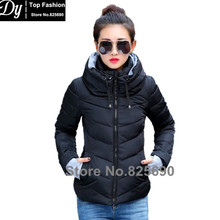 New Wadded Winter Jacket Women Cotton Short Jacket Fashion 2016 Girls Padded Slim Plus Size Hooded Parkas Stand Collar Coat