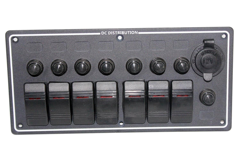 7 Gang DC 12V LED Boat Rocker Switch Panel With Overload Protecter Circuit Breaker Cigarette Socket Voltage Meter.