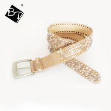 brown crystal women mix matel custom logo waist belts with silvery buckle