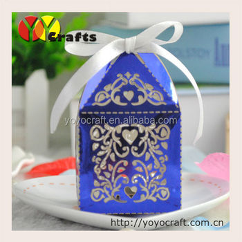 Laser Cut Metallic Paper Royal Blue Wedding Favour Bo