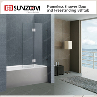 SUNZOOM 10mm glass frameless hinge open style shower bath screen