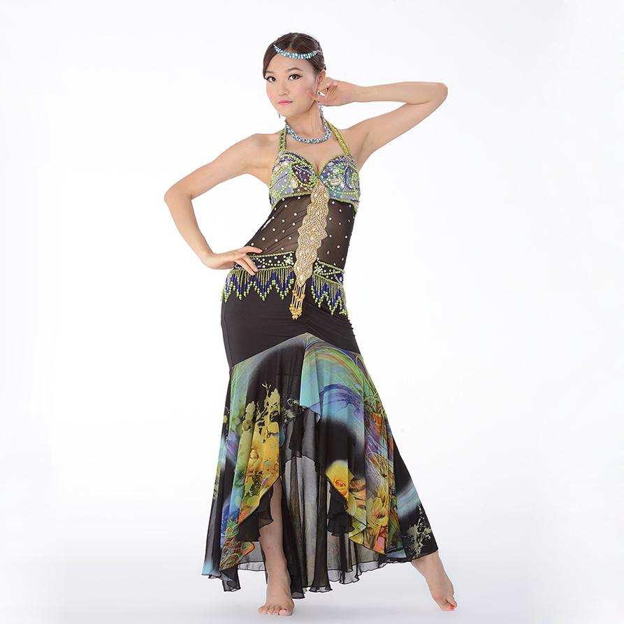 Belly Dance Costume Set Oriental Halloween Indian Princess Dress Flamenco Skirt Women Dresses-in