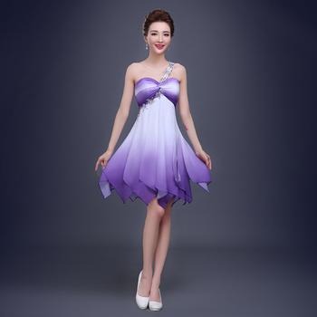 f70efd22b 2016 Sexy con reborde Chiffon corto Vestidos de cóctel de moda púrpura  Vestidos de noche