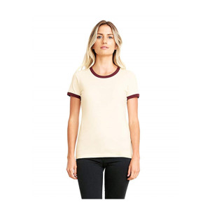 Wholesale clothing garment plain round neck women t shirts custom ringer ladies tee shirts