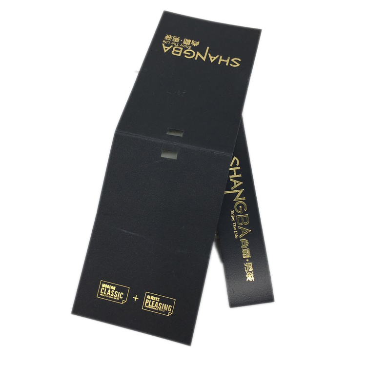 Custom printed black hot stamping gold foil jeans hang tag