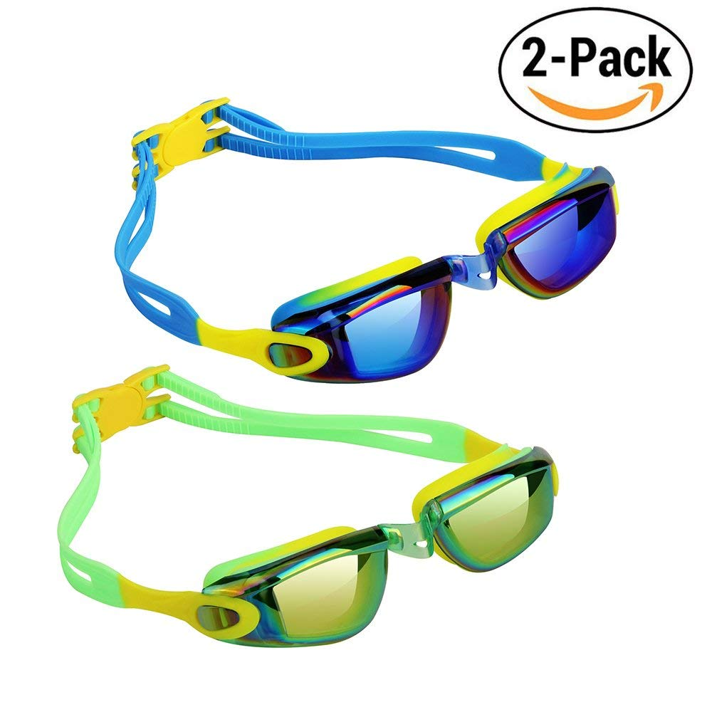 Hurdilen Kids Swim Goggles,2 Pack,Swim Goggles for kids Swimming Goggles with Anti-Fog UV Protection No Leaking Coated Lens for Boys Girls Youth Kids