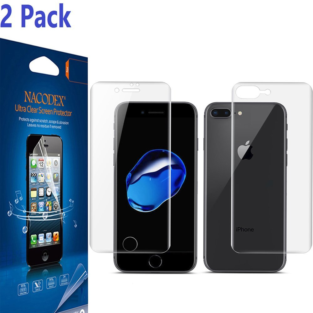 [2 Pack] For iPhone 8 Plus / iPhone 7 Plus Screen Protector, [No Glass], [1Pcs Front + 1Pcs Back] Nacodex [100% Full Cover] [No Foam] [Anti Scratch] High Definition Screen Protector