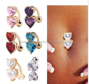 Reverse Crystal Bar Belly Ring Gold Body Piercing Button Navel with Two Heart