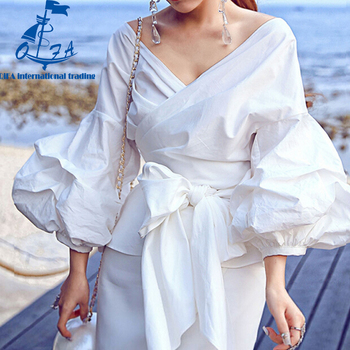 HIGH QUALITY 5XL Women's Big Lantern Sleeve V-neck Bow Loose Top Shirt Lady Blouses Plus size