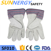 new design safety gloves cow split leather working safety gloves with ce en388 of China National Standard