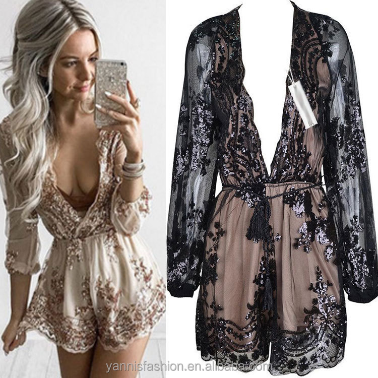 006215b4ddb1 Gold Sequin Embroidery Elegant Women Jumpsuit Romper Transparent Mesh Long  Sleeve Playsuit Women Deep V Neck Combinaison Femme