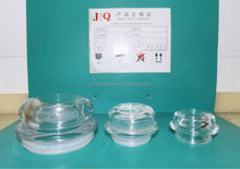 Glass lid for glass jar, glassware caps with plastic ring, glass caps