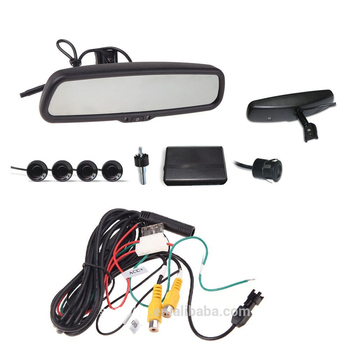 "2016 new Auto 4.3"" LCD Camera Car Rearview Mirror Reverse Radar System 4 Parking Sensors"