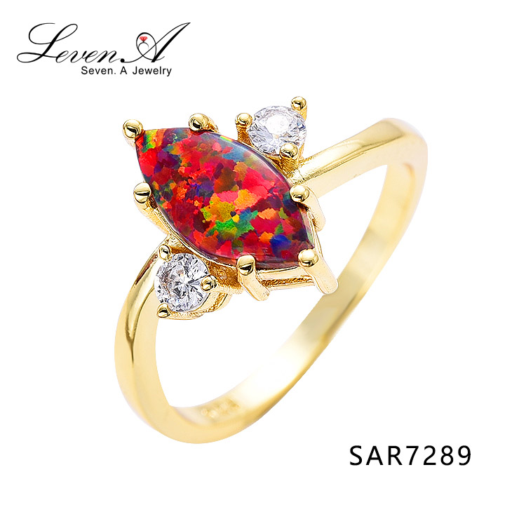 SAR7289 Latest design s925 은 중국 cz 숙 녀 18 K gold rings, yellow 금 plating opal 후작 링 jewelry