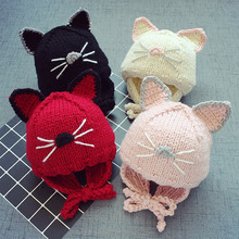 2018 Autumn Winter Baby Hats Kids Cute cat ear Hat Beanie Cap Toddler Infant Girls Boys Knitted Hat 30