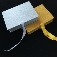 Top sales custom folding style silver glitter gift box for hair or beauty