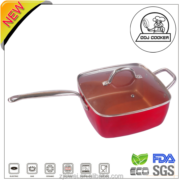 HOT sellig aluminum grill sauce pan with soft touch handle camping square sauce copper pan