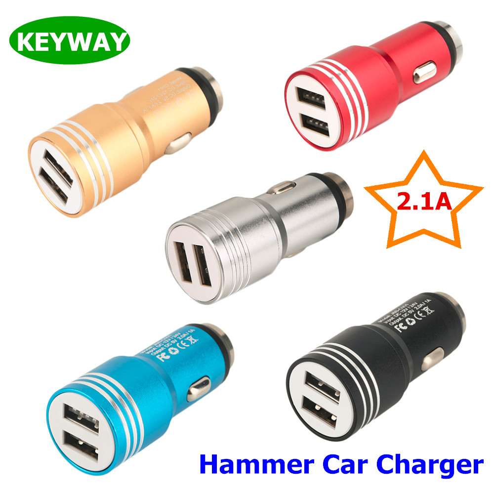 China Manufacturer 5V 2.1A Metal Aluminum Safety Hammer Portable Universal Dual USB Car Charger For Iphone 7 S8 PAD Notebook