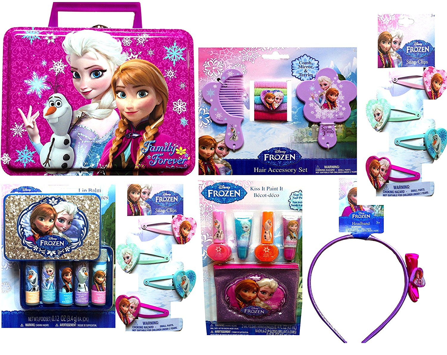 Disney Frozen Tin Boxes for Storing Includes Back to School Exclusive Frozen Accessories (PINK TIN)