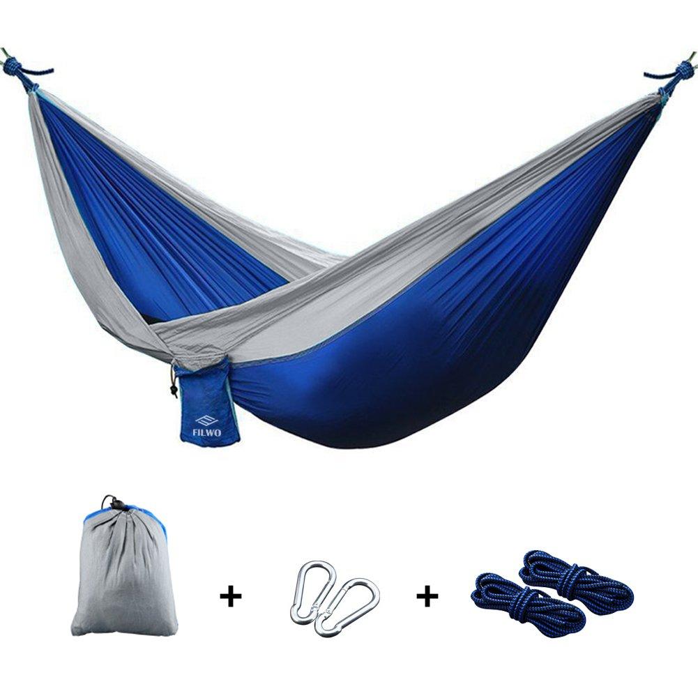 "Camping Hammock, FILWO Portable Hammock Garden Hammock UltraLight and Durable for Backpacking, Travel, Beach, Yard Multifunctional Nylon Parachute 106""x 55"" Single Double Hammock(Blue)"