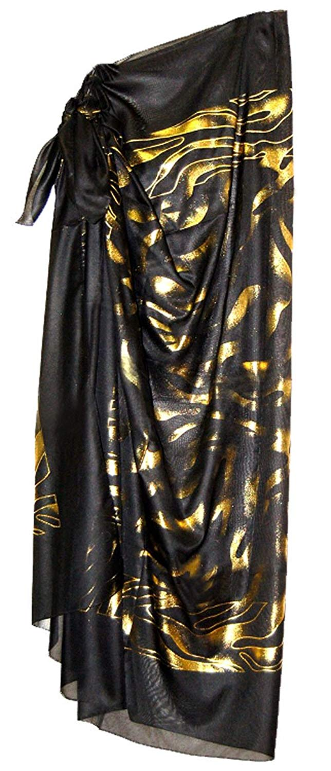 5b077561f047e Get Quotations · Carol Wior Hot Jewels Pareo Cover-up In Black With Gold  Foil