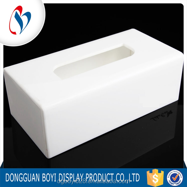 New White Color Recycled Deluxe Box Customized Acrylic Tissue Box