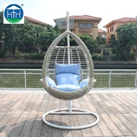 China manufacturer cheap egg chair wicker rattan outdoor garden furniture in steel frame