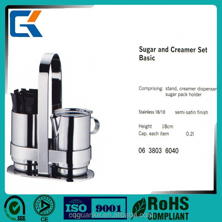 Manufacture five star hotel buffet stainless steel dinnerware sugar and creamer sets
