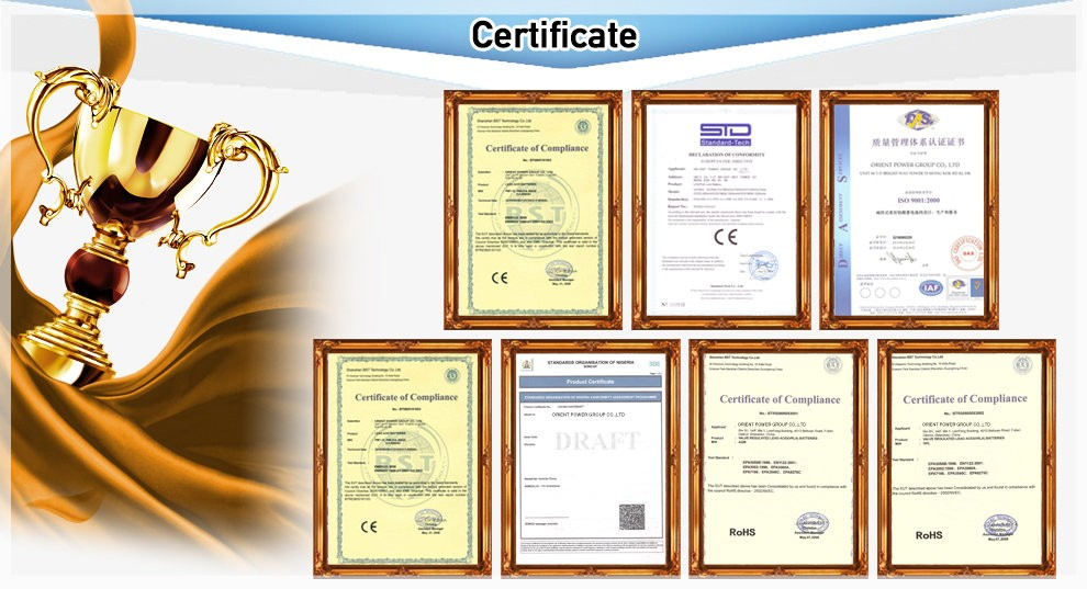 lifepo4 battery certificates