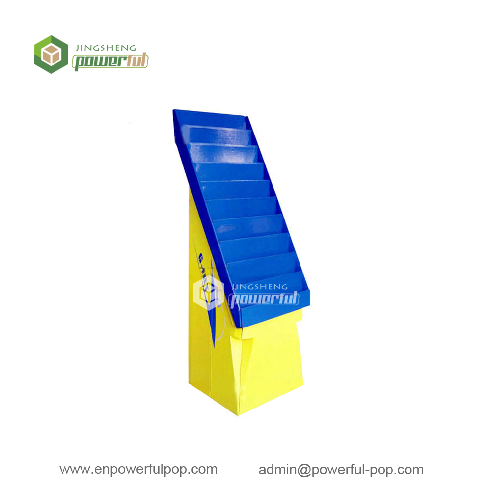 magazine books corrugated cardboard power wing floor display stand