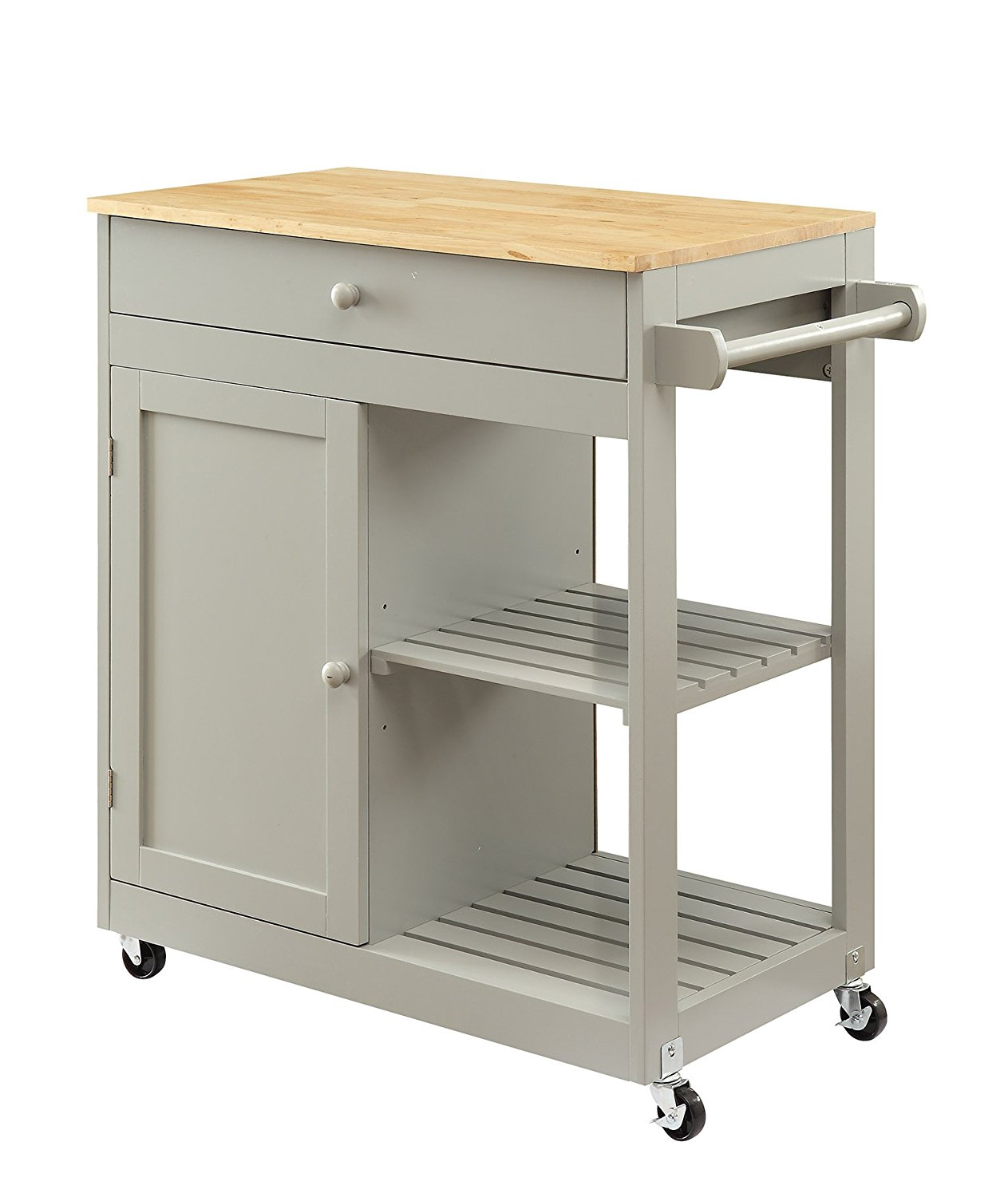"Oliver and Smith - Nashville Collection - Mobile Kitchen Island Cart on Wheels - Wooden Grey - Natural Oak Butcher Block - 30"" W x 17"" L x 36"" H"