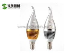 Latest best price warm white 3W led candle light, 3w led candle lamp, e14 led candle bulb 3w