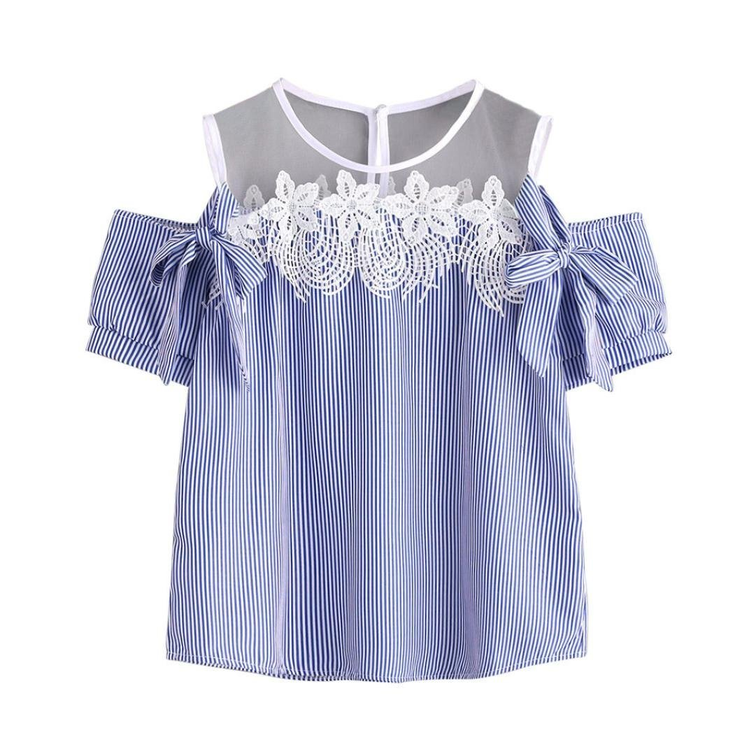 Snowfoller Women Cold Shoulder Lace Striped Blouse Fashion Short Sleeve Bowknot Decor O-Neck Loose Tops Casual T-Shirt (M, Blue)