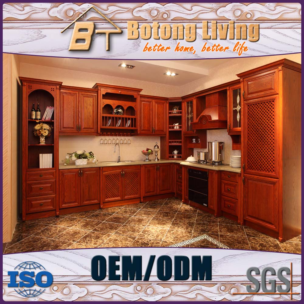 Botong Living KC-SW06 standard solid wood imported from china kitchen cabinet with chinese carving